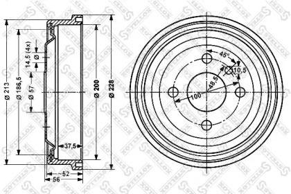 Задній гальмівний барабан STELLOX 6025-3605-SX.
