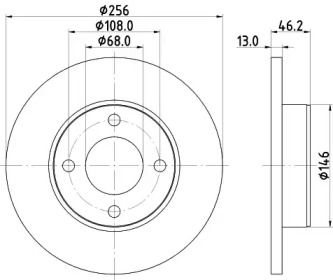 Тормозной диск 'HELLA PAGID 8DD 355 100-581'.