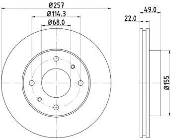 Вентилируемый тормозной диск на INFINITI G20 'HELLA PAGID 8DD 355 102-651'.