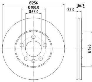 Перфорированный тормозной диск 'HELLA PAGID 8DD 355 105-361'.