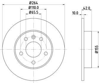 Тормозной диск 'HELLA PAGID 8DD 355 106-111'.