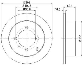 Тормозной диск на MITSUBISHI SANTAMO 'HELLA PAGID 8DD 355 107-331'.