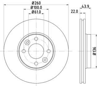 Перфорированный тормозной диск на NISSAN NP200 'HELLA PAGID 8DD 355 109-331'.