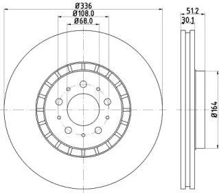 Перфорированный тормозной диск на Вольво ХС90 'HELLA PAGID 8DD 355 110-591'.