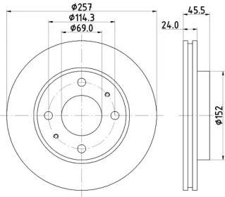 Вентилируемый тормозной диск на Хендай Матрикс 'HELLA PAGID 8DD 355 110-931'.