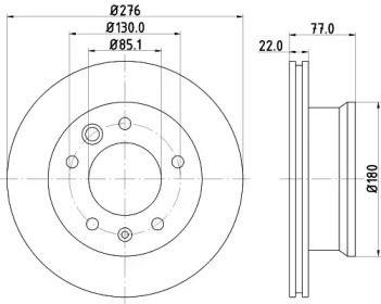 Вентилируемый тормозной диск на MERCEDES-BENZ VARIO 'HELLA PAGID 8DD 355 111-001'.