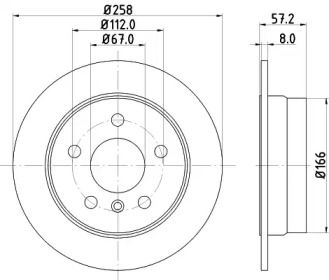Тормозной диск на Мерседес Б класс 'HELLA PAGID 8DD 355 111-101'.