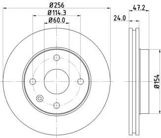 Вентилируемый тормозной диск на Шевроле Такума 'HELLA PAGID 8DD 355 111-351'.