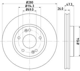 Вентилируемый тормозной диск на HYUNDAI TIBURON 'HELLA PAGID 8DD 355 120-141'.