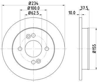 Тормозной диск на HYUNDAI I10 'HELLA PAGID 8DD 355 112-801'.