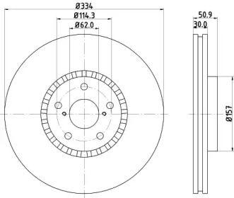 Перфорированный тормозной диск на Лексус РС 'HELLA PAGID 8DD 355 112-871'.