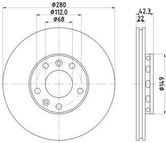 Перфорированный тормозной диск на Фольксваген Фаетон 'HELLA PAGID 8DD 355 113-321'.