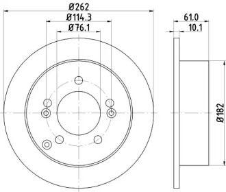 Тормозной диск на Хендай ХГ 'HELLA PAGID 8DD 355 113-641'.