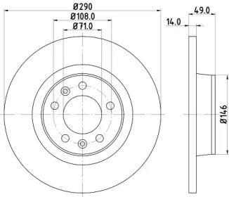 Тормозной диск на Тайота Проас 'HELLA PAGID 8DD 355 113-681'.