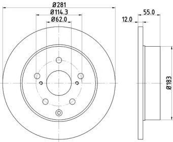 Тормозной диск на TOYOTA HARRIER 'HELLA PAGID 8DD 355 118-881'.