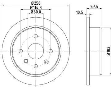 Тормозной диск 'HELLA PAGID 8DD 355 114-161'.