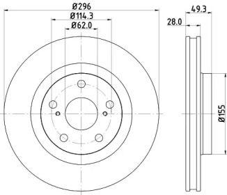Вентилируемый тормозной диск на TOYOTA MATRIX 'HELLA PAGID 8DD 355 118-561'.