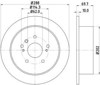 Тормозной диск на Тайота Харриер 'HELLA PAGID 8DD 355 114-991'.