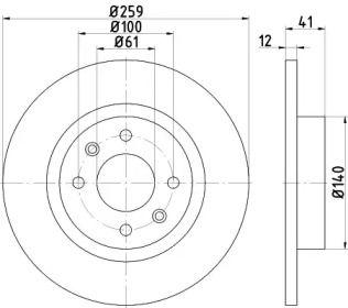 Тормозной диск 'HELLA PAGID 8DD 355 115-271'.