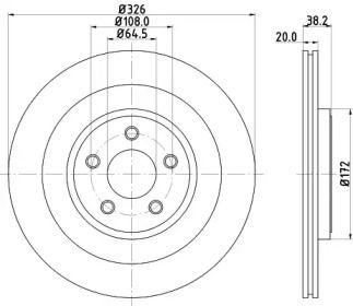 Вентилируемый тормозной диск на Ягуар ХК 'HELLA PAGID 8DD 355 115-581'.