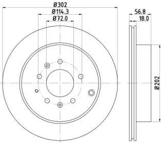 Вентилируемый тормозной диск на Мазда СХ7 'HELLA PAGID 8DD 355 115-791'.