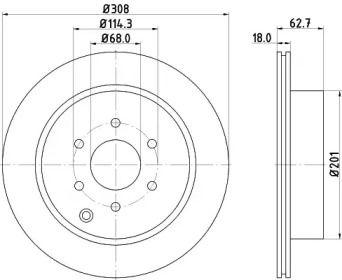 Вентилируемый тормозной диск на Ниссан Навара 'HELLA PAGID 8DD 355 115-851'.