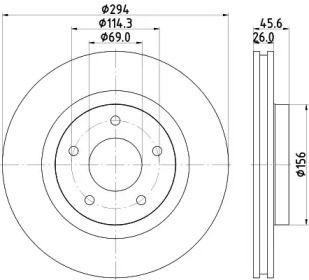 Вентилируемый тормозной диск на Джип Компасс 'HELLA PAGID 8DD 355 115-911'.