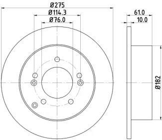 Тормозной диск на KIA CARENS 'HELLA PAGID 8DD 355 115-991'.