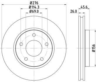 Вентилируемый тормозной диск на Додж Калибер 'HELLA PAGID 8DD 355 116-241'.
