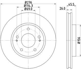 Вентилируемый тормозной диск на Митсубиси Грандис 'HELLA PAGID 8DD 355 116-311'.