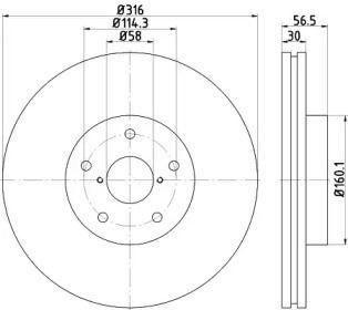 Вентилируемый тормозной диск на Субару ВРХ HELLA PAGID 8DD 355 116-361.