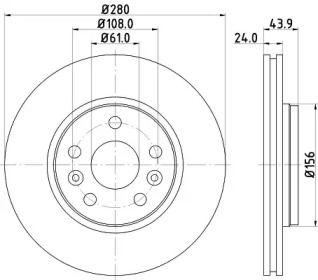 Перфорированный тормозной диск на Рено Сафран 'HELLA PAGID 8DD 355 116-451'.