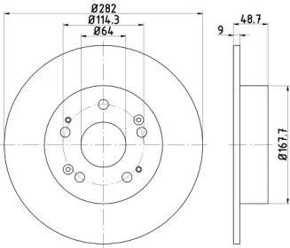 Тормозной диск на Акура ТСХ 'HELLA PAGID 8DD 355 116-521'.