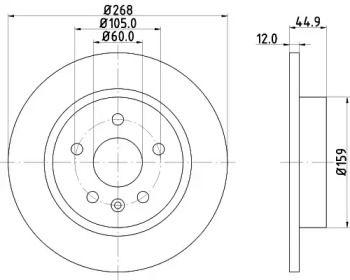 Тормозной диск на CHEVROLET TRAX 'HELLA PAGID 8DD 355 116-581'.