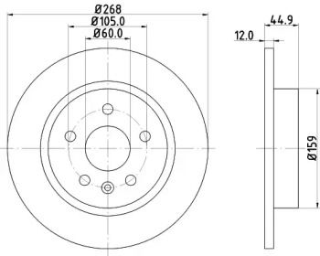 Тормозной диск на OPEL MOKKA 'HELLA PAGID 8DD 355 116-581'.