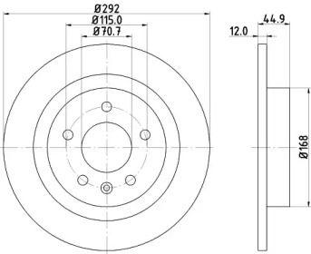 Тормозной диск на Шевроле Вольт 'HELLA PAGID 8DD 355 116-601'.