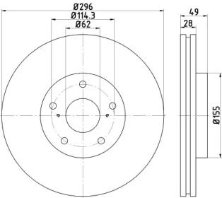 Вентилируемый тормозной диск на Тайота Аурион 'HELLA PAGID 8DD 355 117-431'.