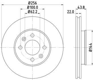 Вентилируемый тормозной диск на Хендай Верна 'HELLA PAGID 8DD 355 117-981'.