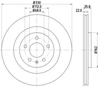 Вентилируемый тормозной диск на PORSCHE MACAN 'HELLA PAGID 8DD 355 118-021'.