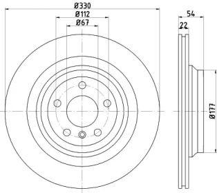 Вентилируемый тормозной диск на MERCEDES-BENZ GLE 'HELLA PAGID 8DD 355 122-561'.