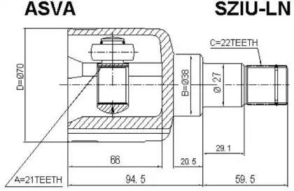 Внутренний ШРУС 'ASVA SZIU-LN'.