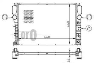 Алюмінієвий радіатор охолодження двигуна на Mercedes-Benz W211 LORO 054-017-0048-B.