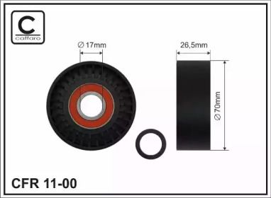 Натяжний ролик ременя генератора на Mercedes-Benz W211 CAFFARO 11-00.