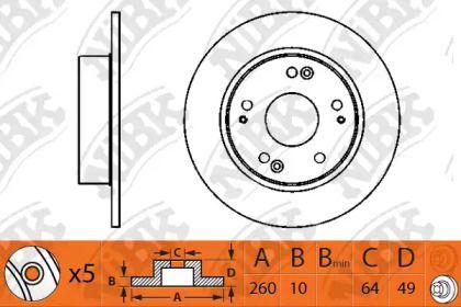 Задний тормозной диск 'NIBK RN1203'.
