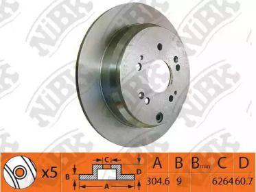 Задний тормозной диск 'NIBK RN1259'.