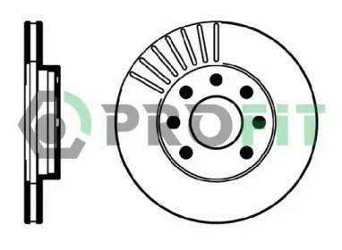 Вентилируемый передний тормозной диск 'PROFIT 5010-0151'.