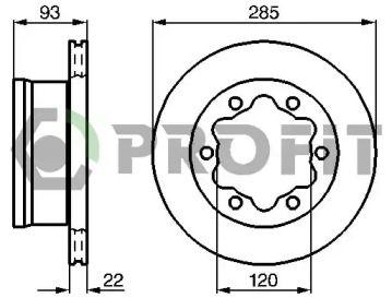 Вентилируемый задний тормозной диск на Мерседес Варио 'PROFIT 5010-0191'.