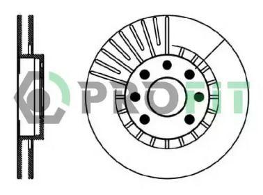 Вентилируемый передний тормозной диск на OPEL CALIBRA 'PROFIT 5010-0206'.