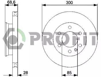 Вентилируемый передний тормозной диск на Фольксваген Крафтер 'PROFIT 5010-0310'.