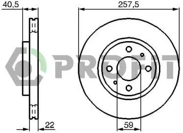 Вентилируемый передний тормозной диск на Лянча Муса 'PROFIT 5010-0762'.